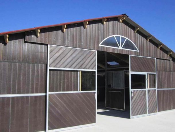 Equestrian barn built with recycled plastic