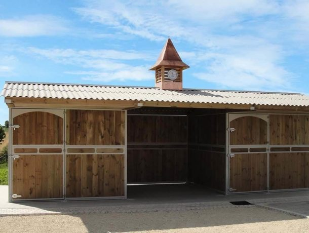 Custom built stables in timber with clock tower