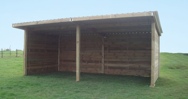 Timber field shelter viewed from the front
