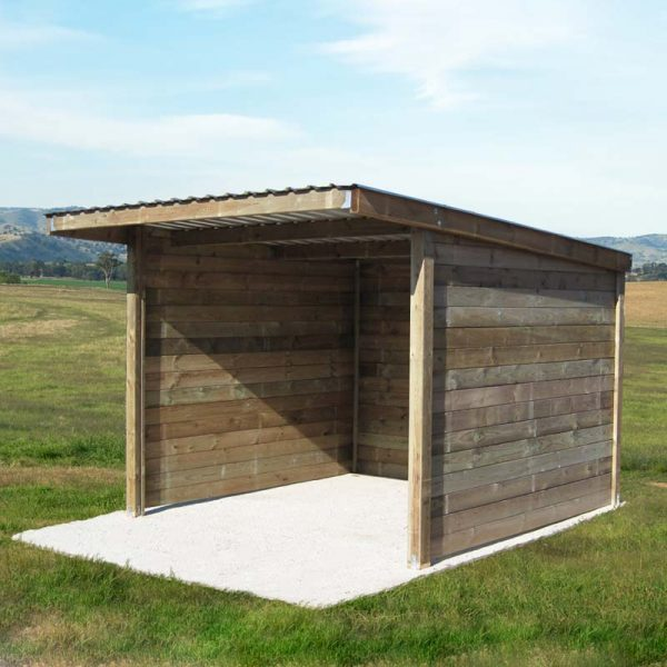 Small timber field shelter on concrete base